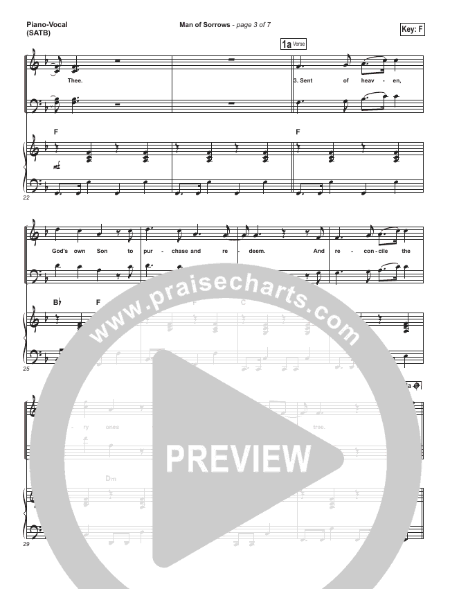 Man Of Sorrows Piano/Vocal (SATB) (Hillsong Worship)