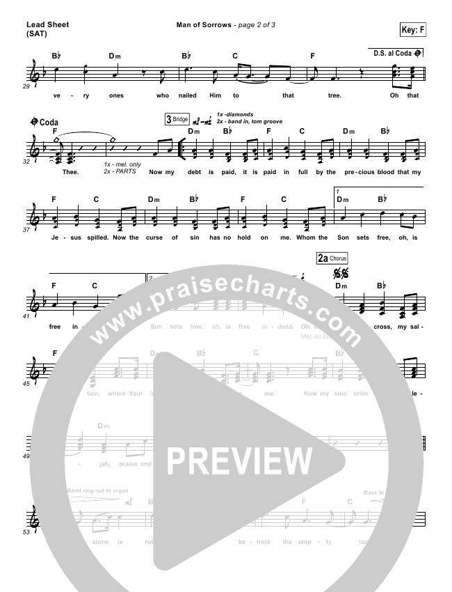 Man Of Sorrows Lead & Piano/Vocal (Hillsong Worship)