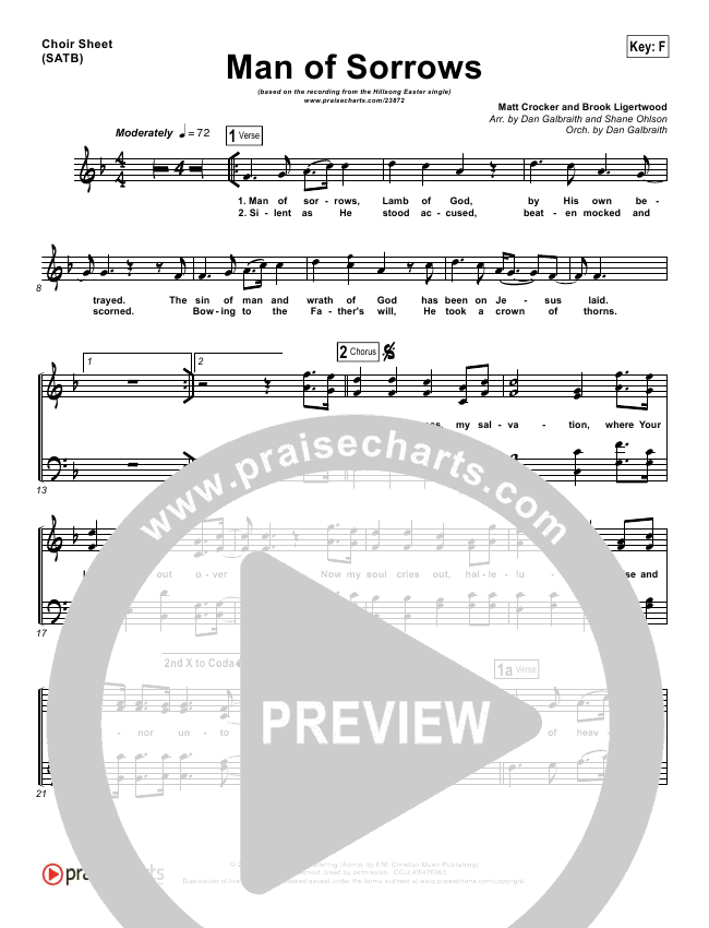 Man Of Sorrows Choir Sheet Satb Hillsong Worship Praisecharts