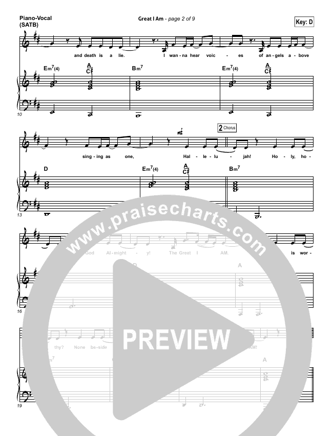 Great I Am Piano/Vocal (SATB) (Phillips Craig & Dean)
