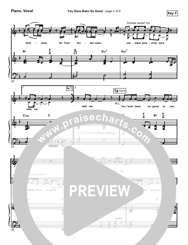 You Have Been So Good To Me Piano/Vocal (SATB) (Paul Baloche)