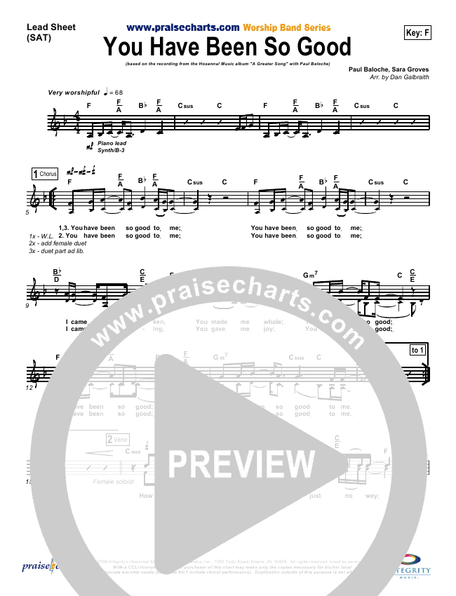 You Have Been So Good To Me Orchestration (with Vocals) (Paul Baloche)