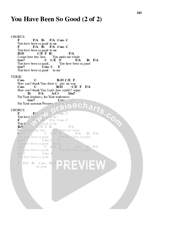 You Have Been So Good To Me Chord Chart (Paul Baloche)