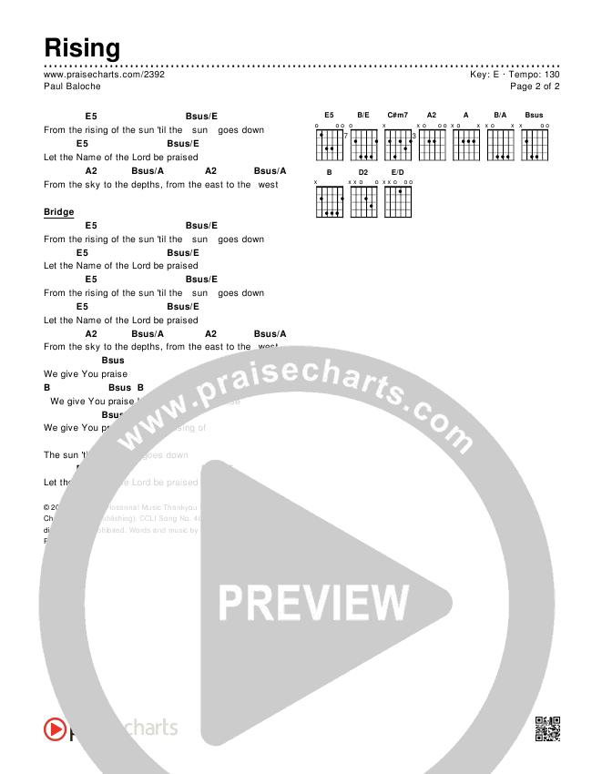 Rising Chords & Lyrics (Paul Baloche)