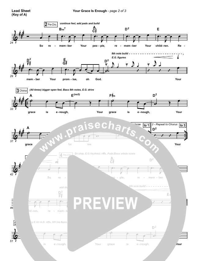Your Grace Is Enough Lead Sheet (Melody) (Chris Tomlin)