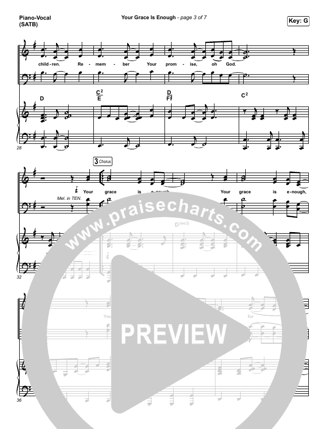 Your Grace Is Enough Piano/Vocal (SATB) (Chris Tomlin)