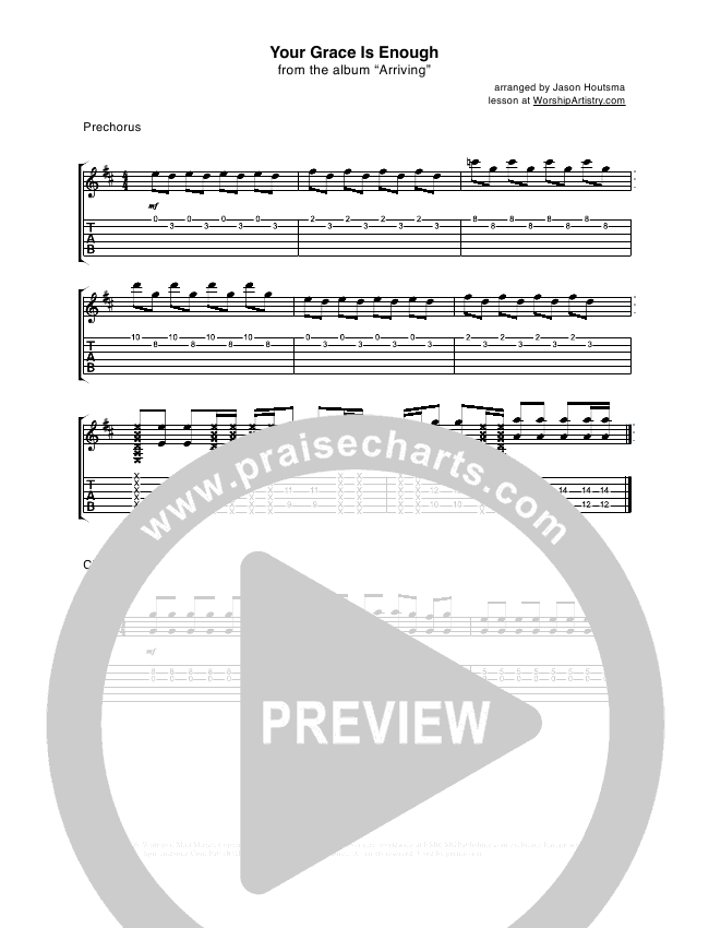 Your Grace Is Enough Guitar Tab (Chris Tomlin)