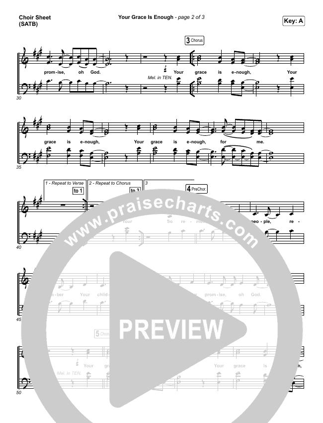 Your Grace Is Enough Choir Sheet (SATB) (Chris Tomlin)