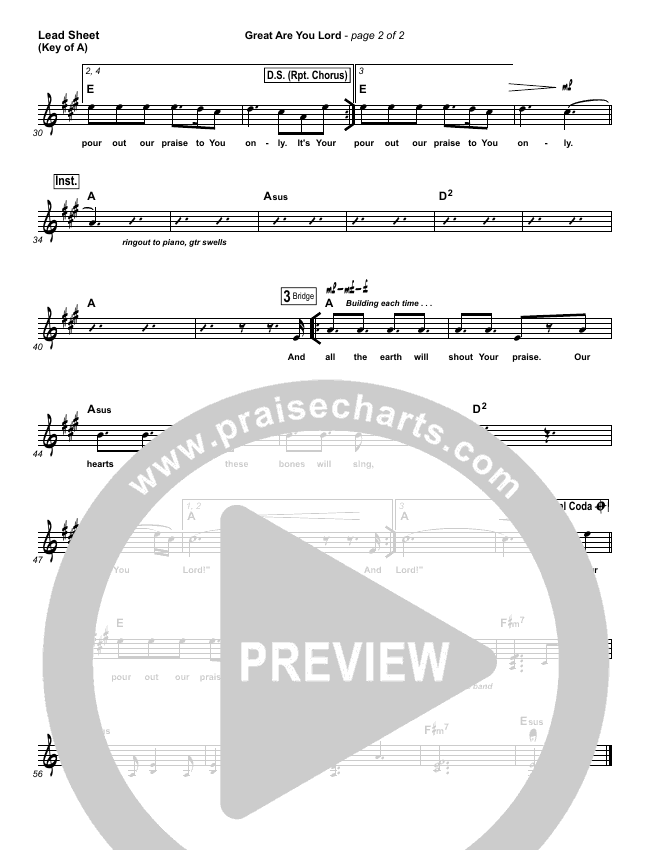 Great Are You Lord Lead Sheet (Melody) (All Sons & Daughters)