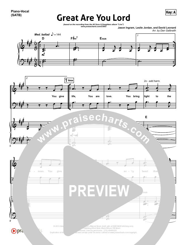 Great Are You Lord Piano/Vocal (SATB) (All Sons & Daughters)