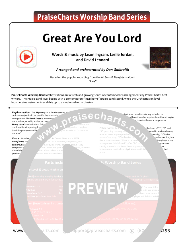 Great Are You Lord Orchestration & Finale (All Sons & Daughters)