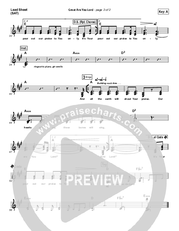 Great Are You Lord Lead Sheet (SAT) (All Sons & Daughters)