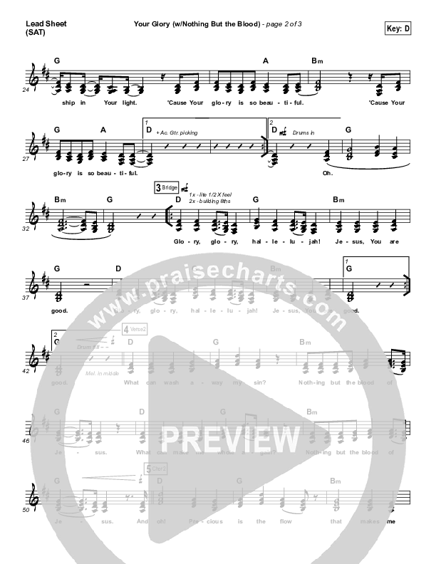 Your Glory (with Nothing But The Blood) Lead Sheet (SAT) (All Sons & Daughters)