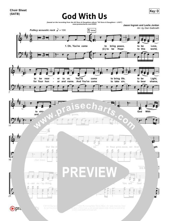 God With Us Choir Sheet (SATB) (All Sons & Daughters)