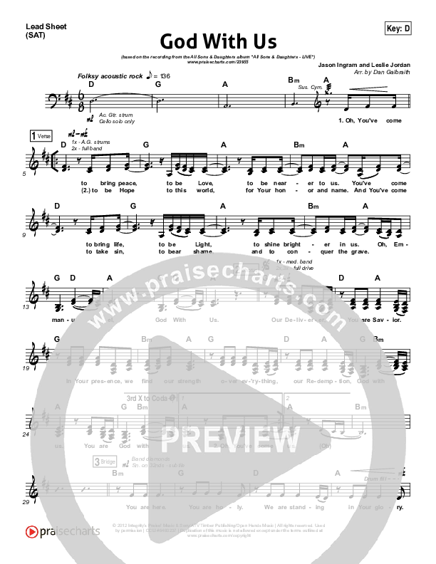 God With Us Lead Sheet (SAT) (All Sons & Daughters)