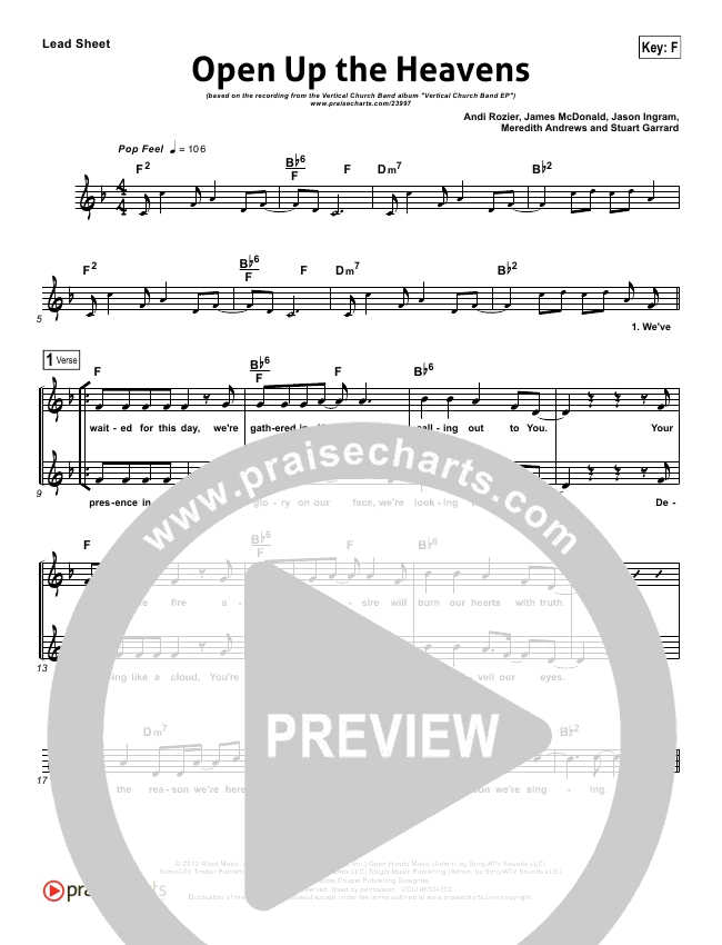 Open Up The Heavens Lead Sheet (Vertical Worship)