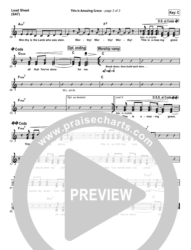 This Is Amazing Grace Lead Sheet (SAT) (Bethel Music)