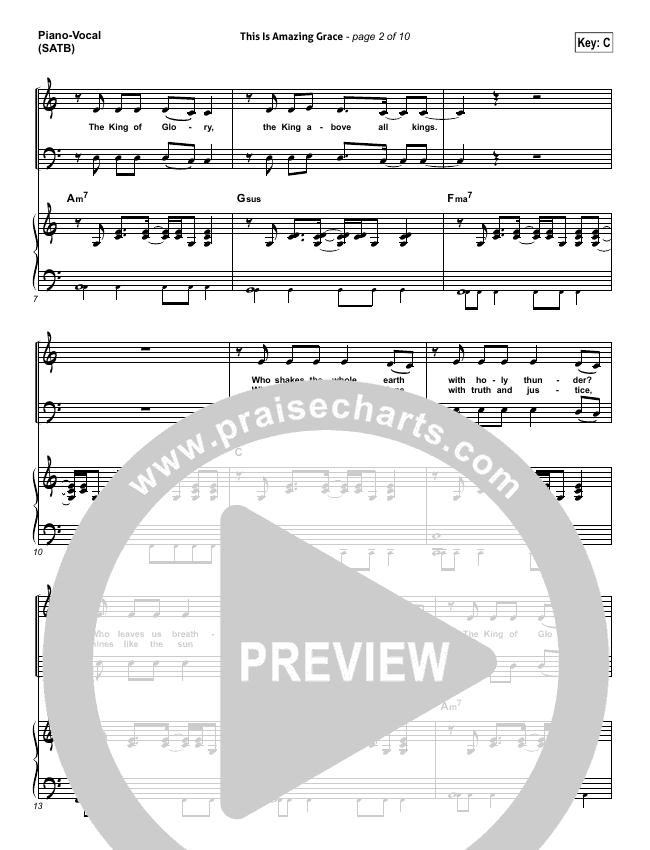 This Is Amazing Grace Piano/Vocal (SATB) (Bethel Music)
