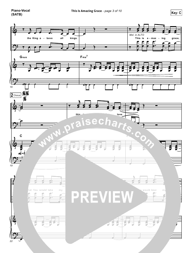 This Is Amazing Grace Lead Sheet Pianovocal Bethel Music