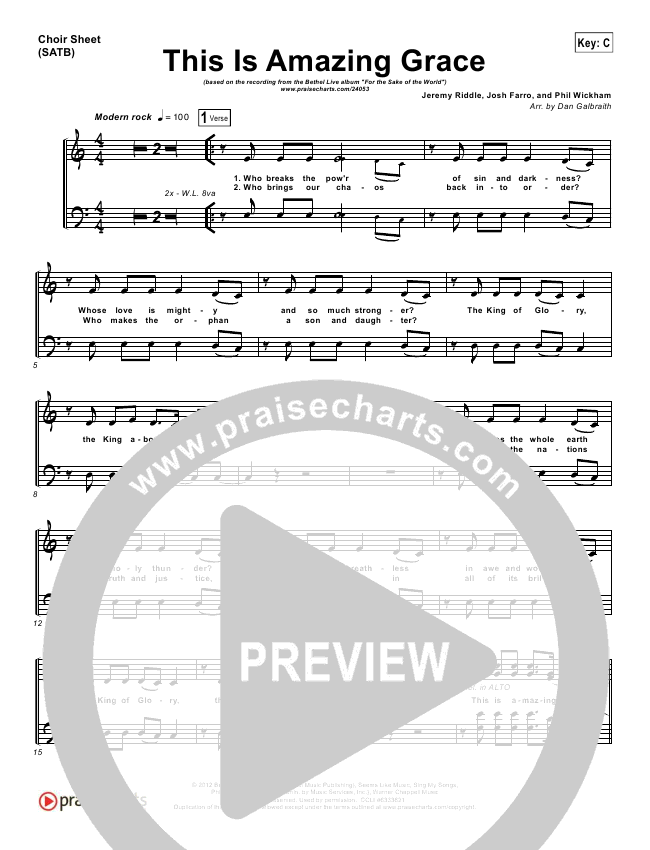 This Is Amazing Grace Choir Sheet (SATB) (Bethel Music)