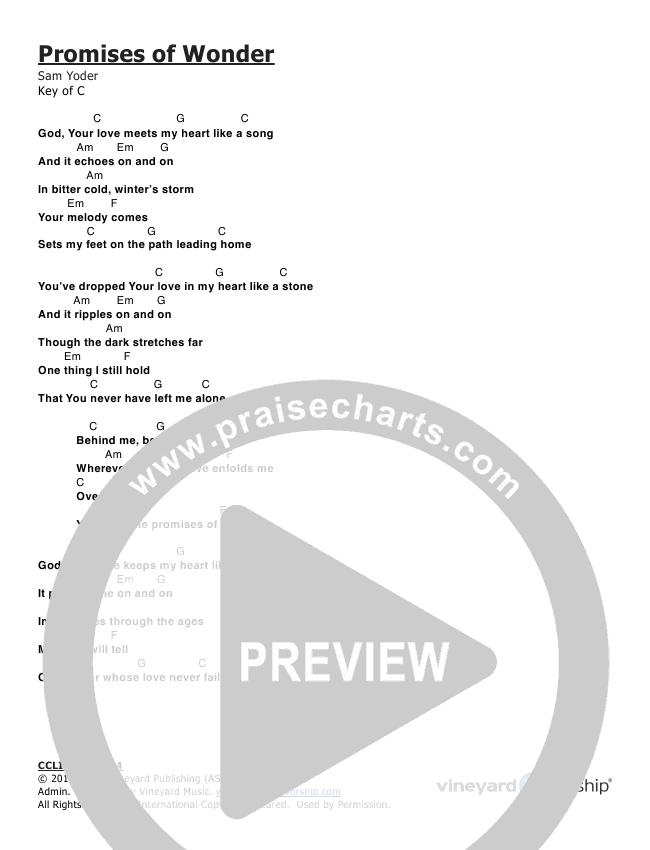 Promises Of Wonder Chords Vineyard Worship Praisecharts