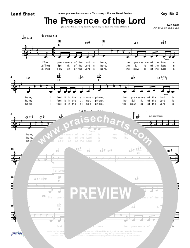 The Presence Of The Lord Is Here Lead Sheet Pianovocal Byron