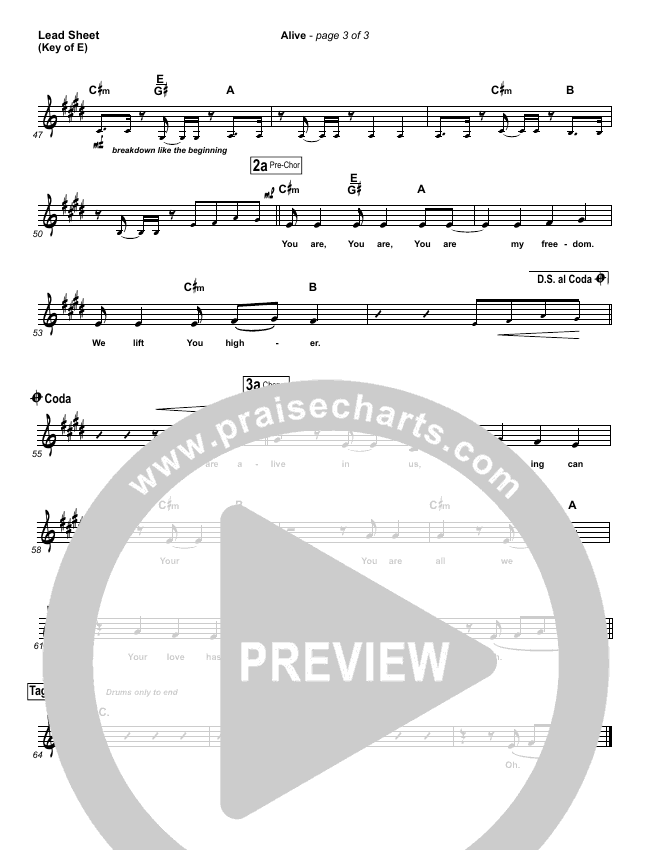 Alive Lead Sheet (Melody) (Hillsong Young & Free)