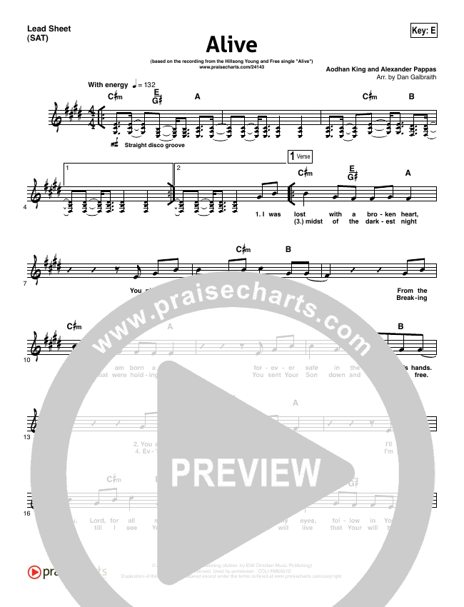 Alive Lead Sheet Pianovocal Hillsong Young Free Praisecharts