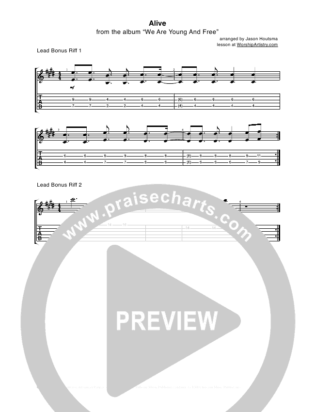 Alive Guitar Tab (Hillsong Young & Free)