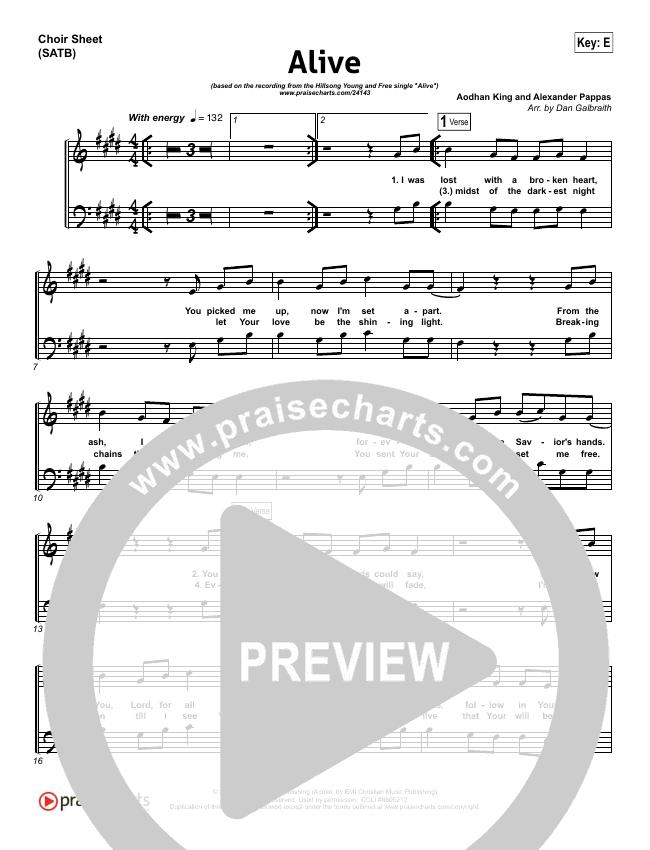 Alive Choir Sheet (SATB) (Hillsong Young & Free)
