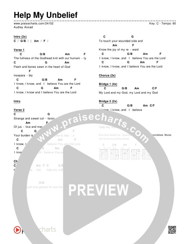 Help My Unbelief Chords & Lyrics (Audrey Assad)