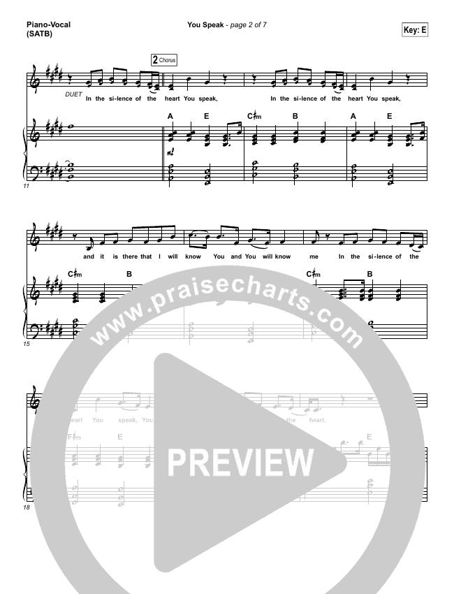 You Speak Piano/Vocal (SATB) (Audrey Assad)