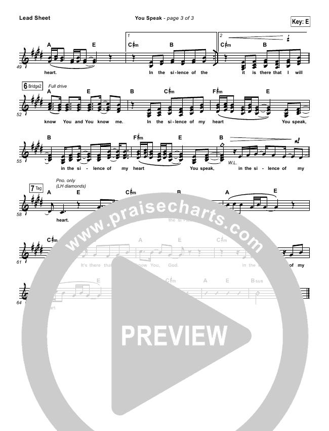 You Speak Lead & Piano/Vocal (Audrey Assad)