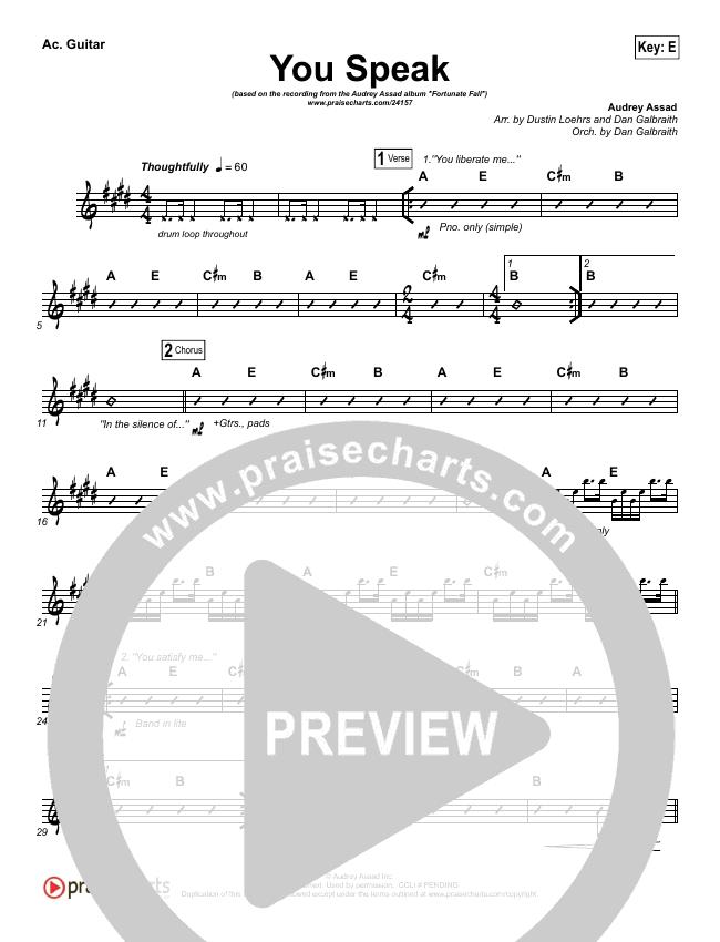 You Speak Rhythm Chart (Audrey Assad)