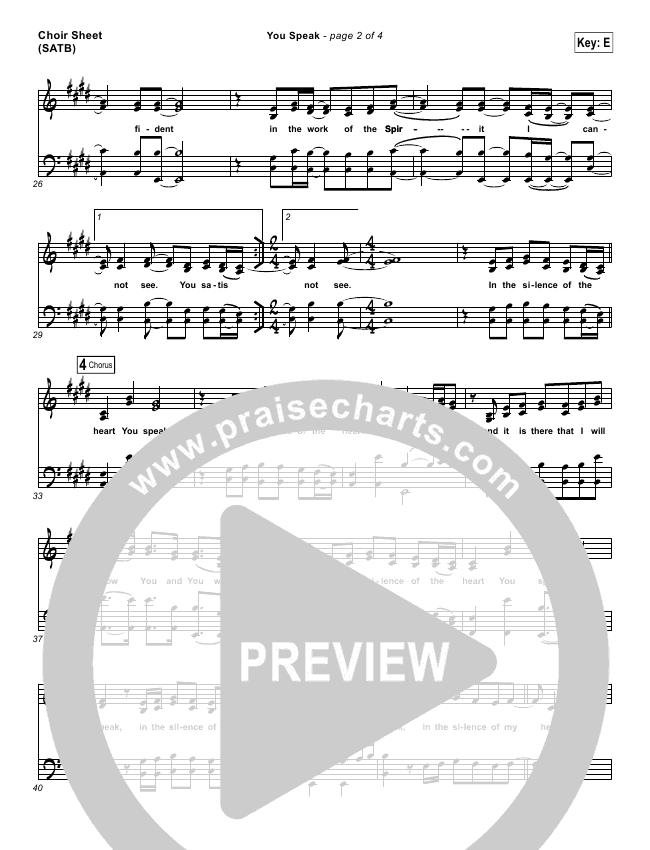 You Speak Choir Sheet (SATB) (Audrey Assad)