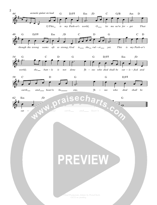 This Is My Father's World Lead Sheet (Cory Alstad / Tony Hiebert)