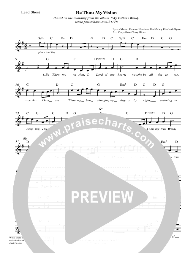 Be Thou My Vision Lead Sheet (Cory Alstad / Tony Hiebert)