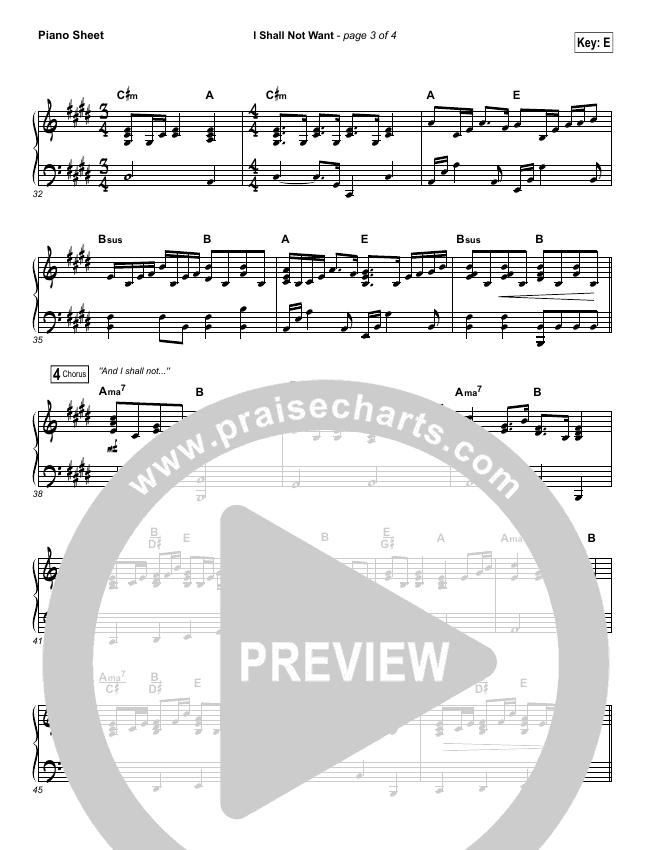 I Shall Not Want Piano Sheet (Audrey Assad)
