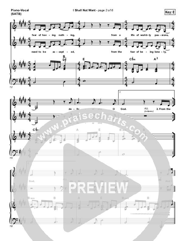 I Shall Not Want Piano/Vocal (SATB) (Audrey Assad)