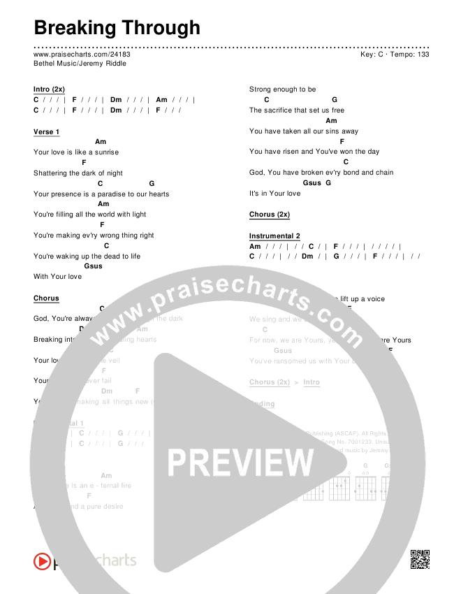 Breaking Through Chords & Lyrics (Bethel Music / Jeremy Riddle)