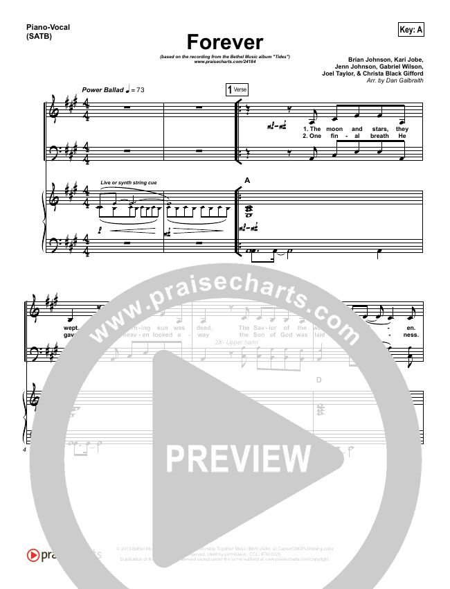 Forever Piano/Vocal (SATB) (Bethel Music / Brian Johnson)