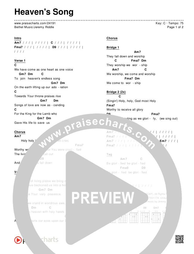 Heaven's Song Chords & Lyrics (Bethel Music / Jeremy Riddle)