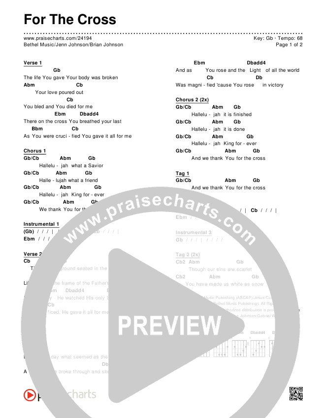 For The Cross Chords & Lyrics (Bethel Music / Jenn Johnson / Brian Johnson)
