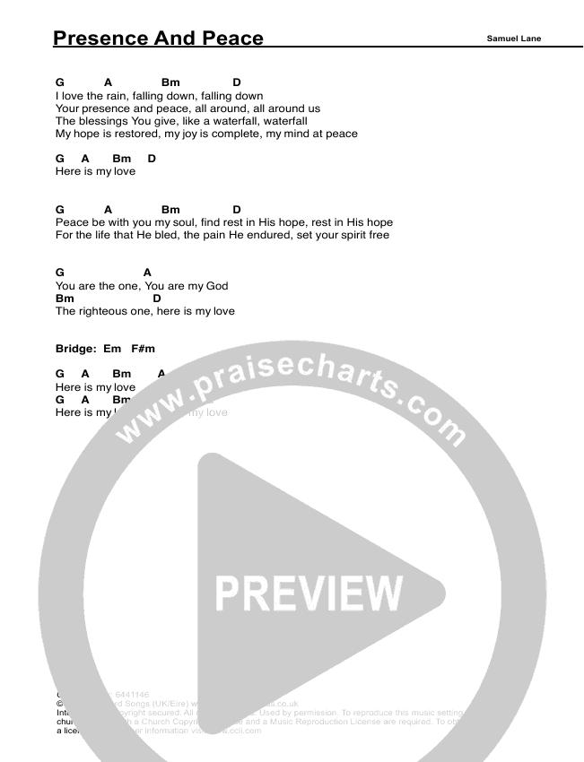 Presence And Peace Chords Samuel Lane Praisecharts