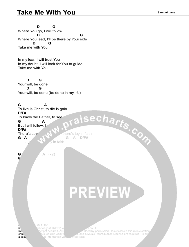 Take Me With You Chords Samuel Lane Praisecharts