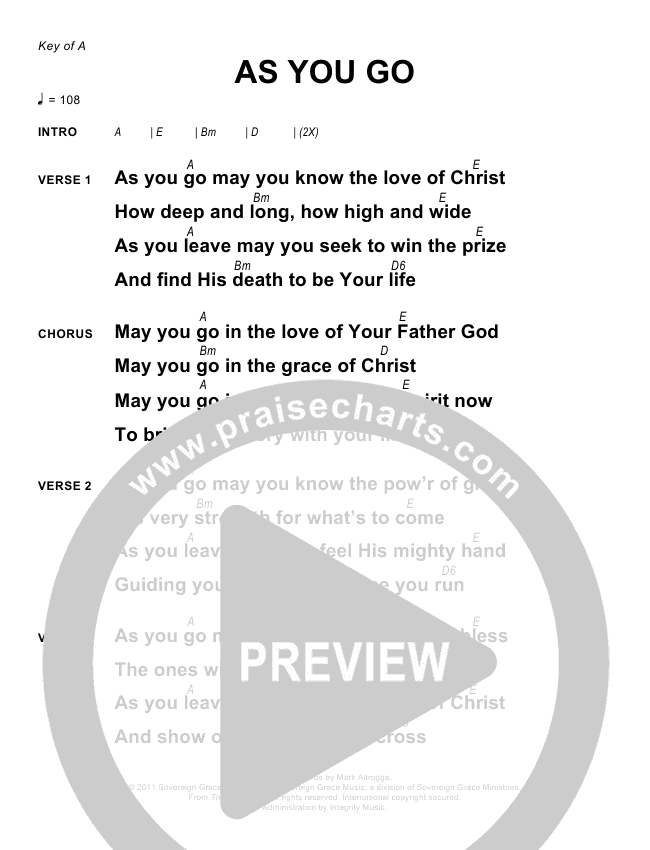 As You Go Chords - Sovereign Grace | PraiseCharts