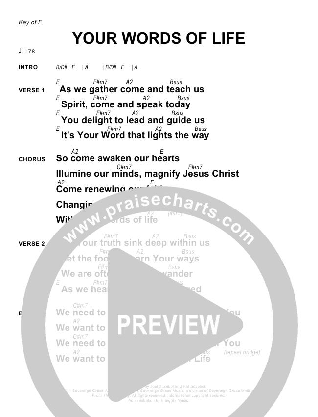 Your Words Of Lifechords Sovereign Grace Praisecharts