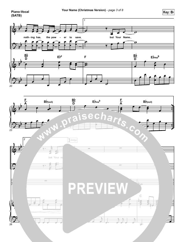 Your Name (Christmas) Piano/Vocal (SATB) (Paul Baloche)