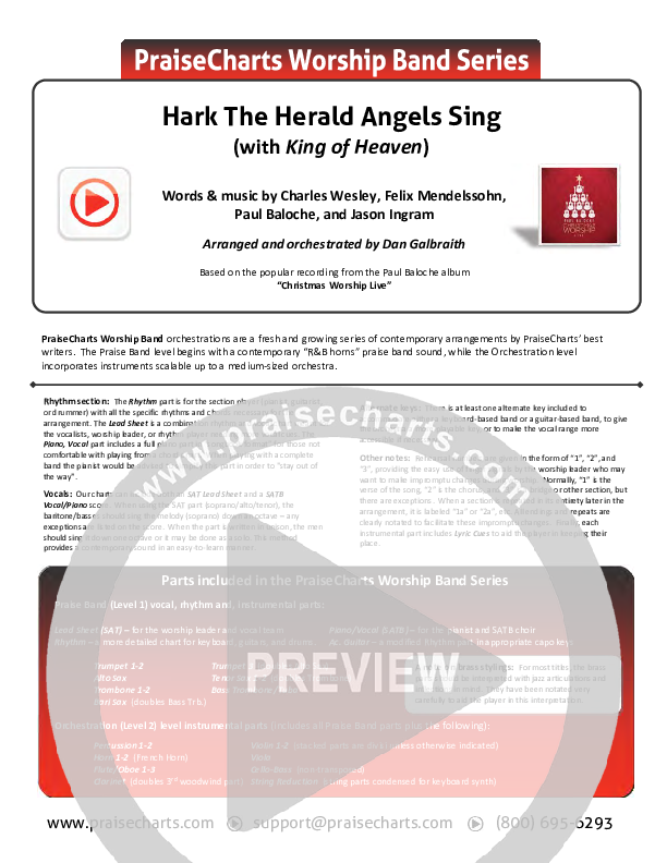 Hark The Herald (with King Of Heaven) Orchestration (Paul Baloche)