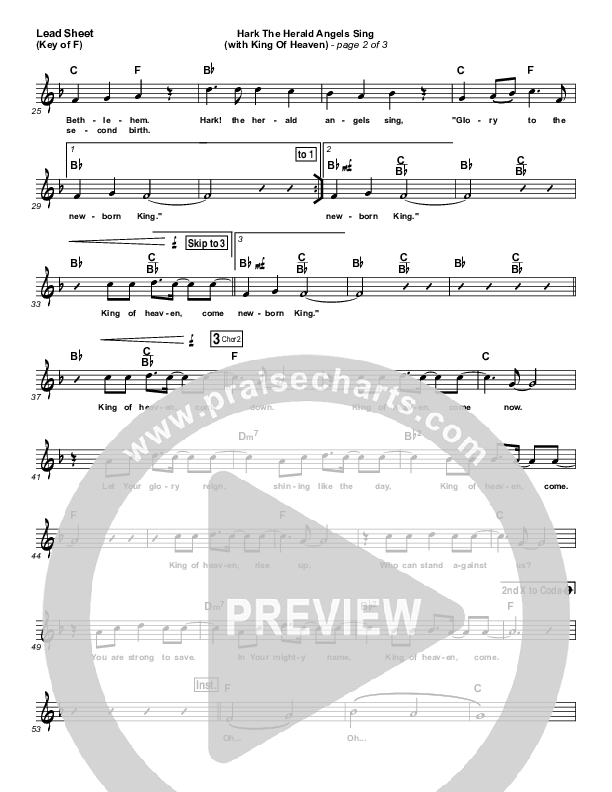 Hark The Herald (with King Of Heaven) Lead Sheet (Melody) (Paul Baloche)